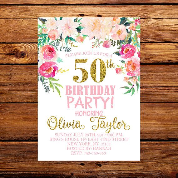 50th Birthday InvitationFloral InvitationFemale InvitationFlowers Invi