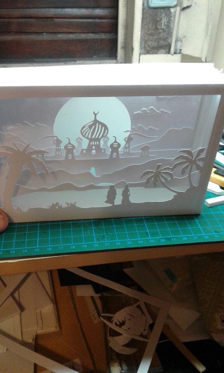 Cuadro De Sombras 3d Con Luz De Un Paisaje Arabe Fine Paper Art Paper Crafts Diy 3d Paper Art
