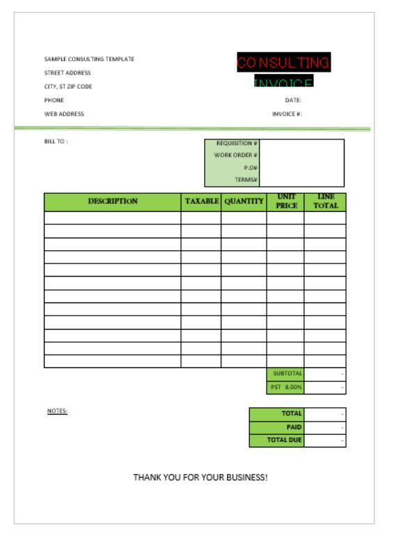Sample Consulting invoice Consulting Invoice Template Pinterest - Invoice For Consulting