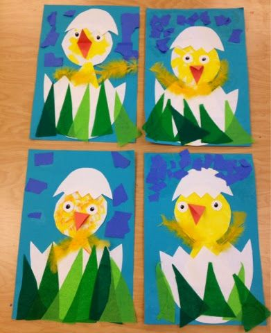 Look what's hatching in Pre-K and Kindergarten!        First, the students drew a circle and a triangle and painted them yellow. These shap...