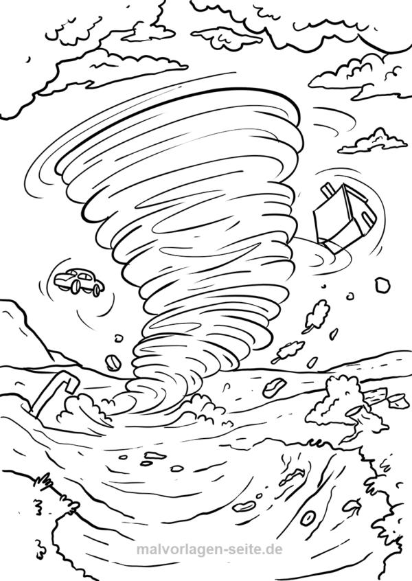 Malvorlage Wirbelsturm Cartoon Scenes Cartoon