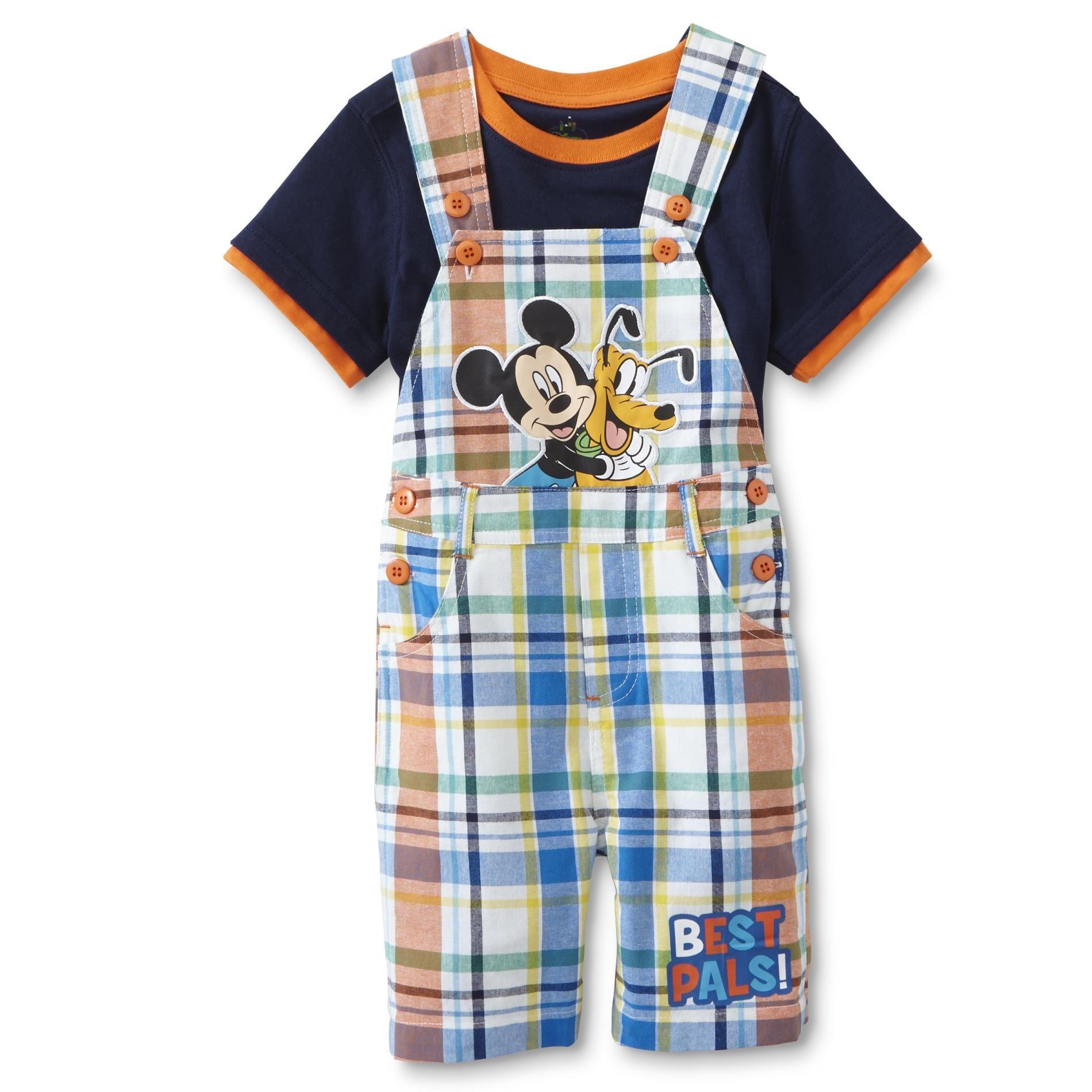 Disney Baby Mickey Mouse Infant Boys Shortalls & T Shirt Plaid