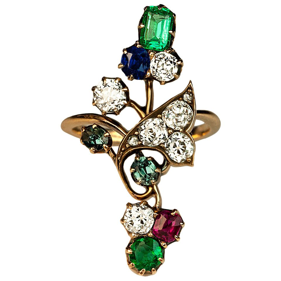 Art Nouveau Antique Gemstone Ring | From a unique collection of vintage cocktail rings at https://www.1stdibs.com/jewelry/rings/cocktail-rings/