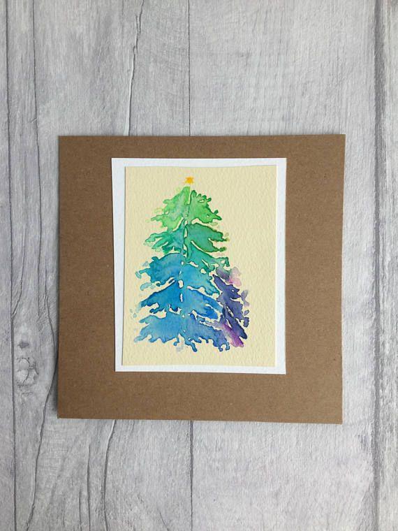 Watercolour Christmas tree Christmas card original painting Teresa