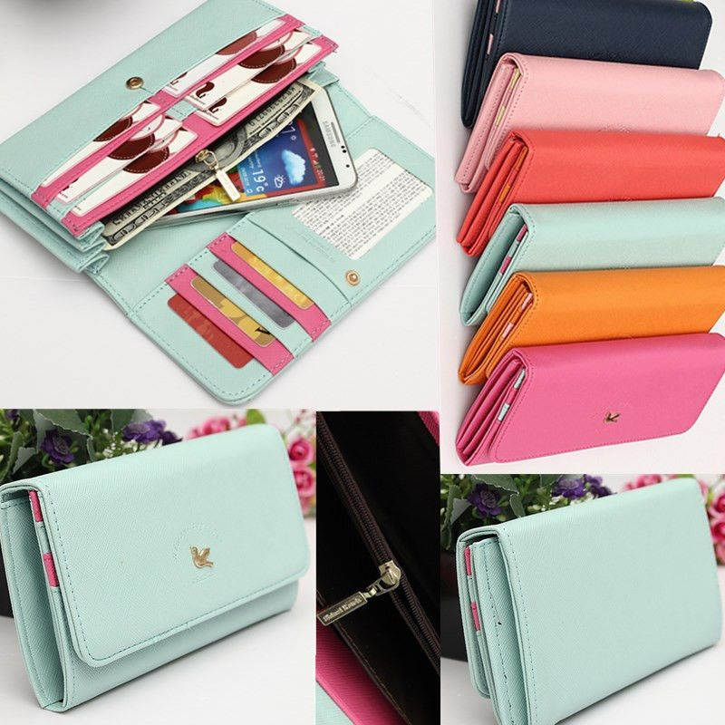 Women Wallet Card Holder Pouch Purse Zipper Case Cover For iPhone 6 4.7 5.5 Plus #MiniBirdWalletcase