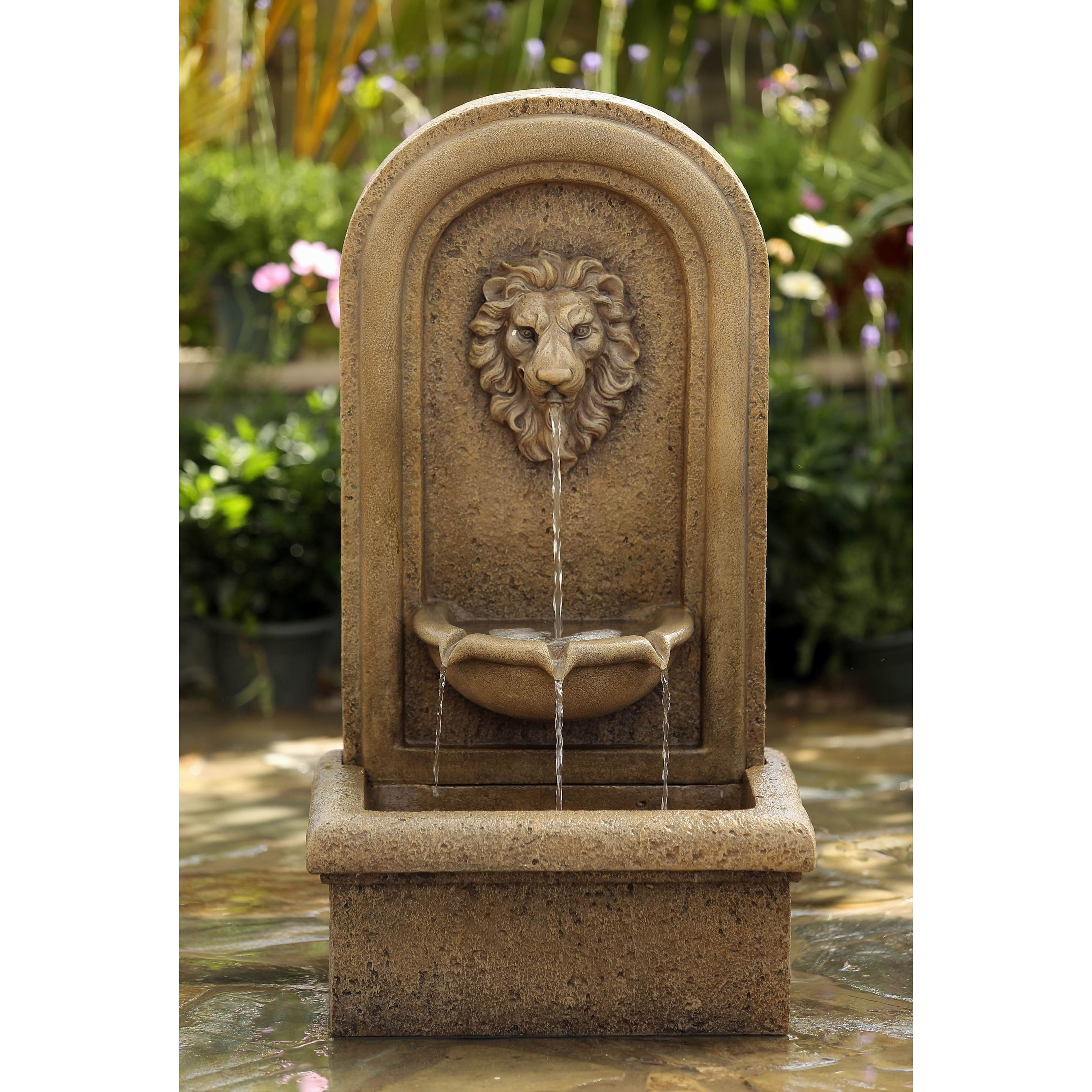 Jeco Lion Head Garden Water Fountain (Water Fountain), Brown (Resin ...