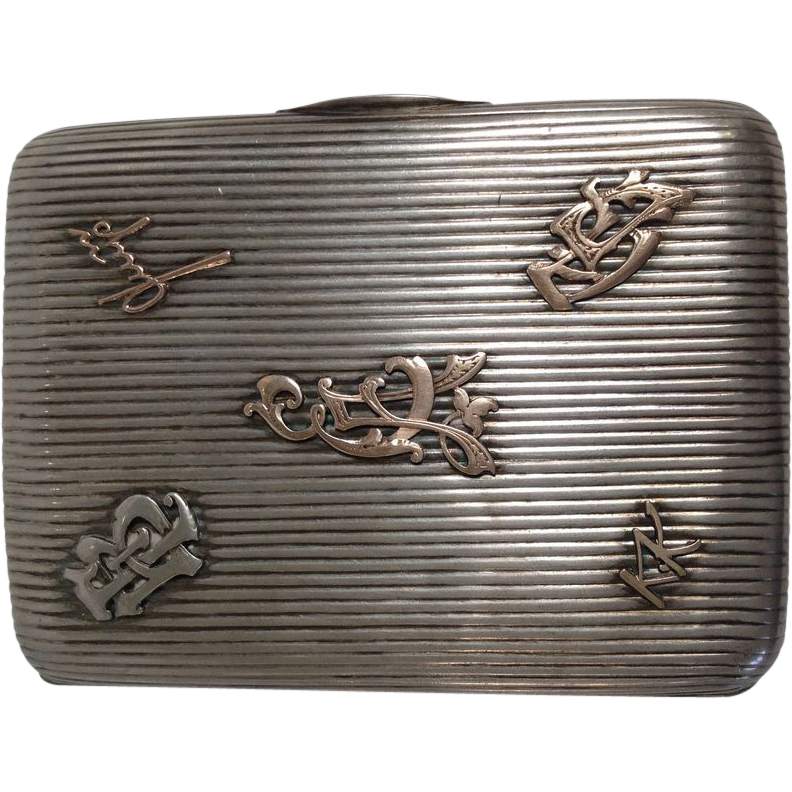 Russian 84 Silver with Gold Initials Cigarette Case