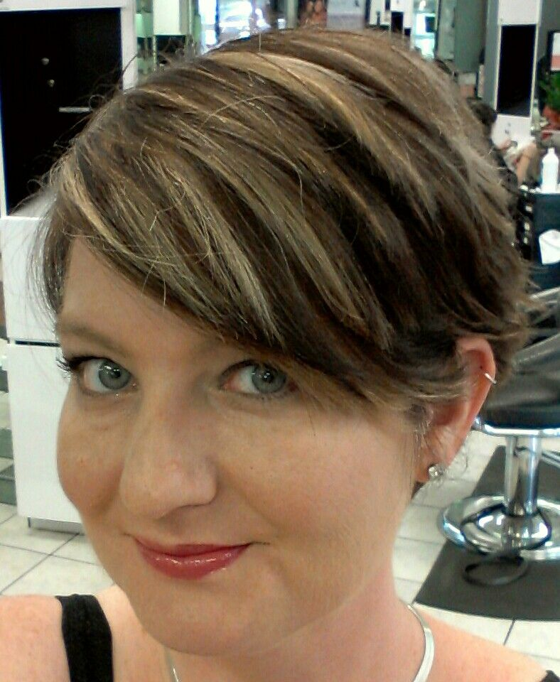 My Short Dark Brown Hair With Fine Blonde Highlights My Creations