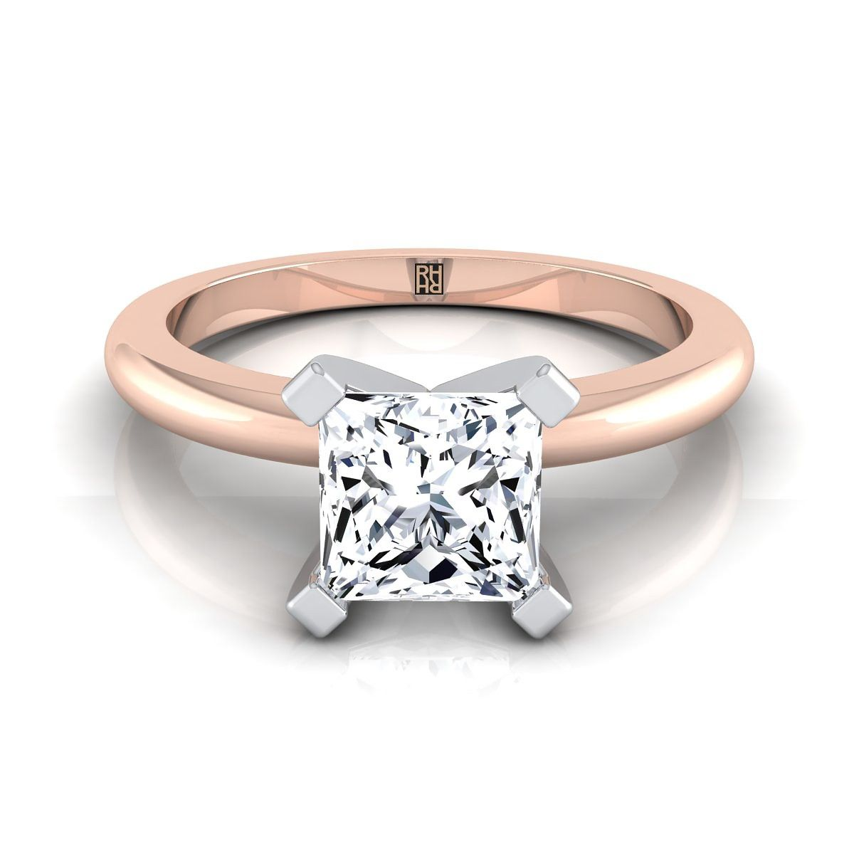 prong princess cut solitaire engagement ring with petite rounded