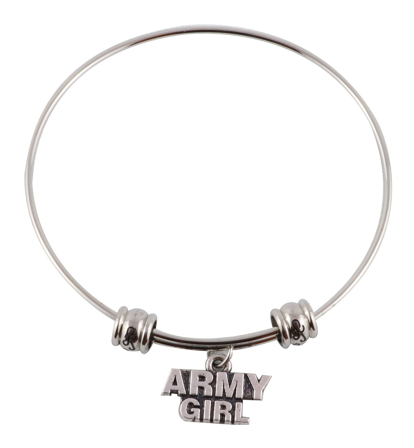 Army girl stainless steel charm bracelet trend jewelry