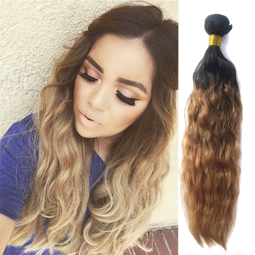 Natural Wave Ombre Virgin Human Hair Extensions Unprocessed Hair