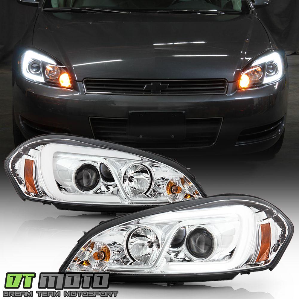 Ad Ebay 2006 2013 Chevy Impala Chrome Led Light Tube Projector Headlights Headlamps Pair In 2020 Chevy Impala Impala Projector Headlights