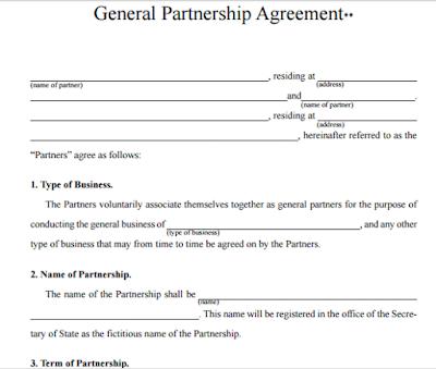 One Page Partnership Agreement Restaurant Partnership
