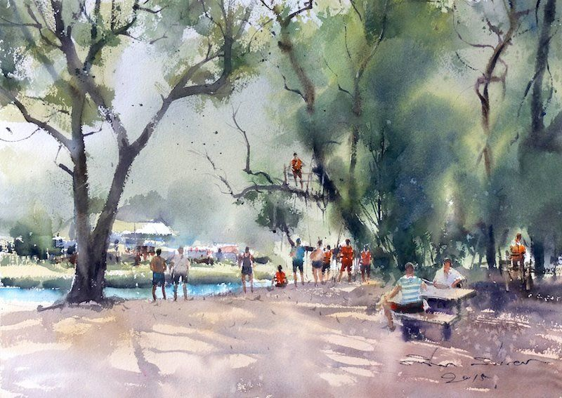 Direk Kingnok Watercolor Artist Vang Vieng Laos Watercolor Jd