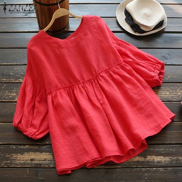 255b78bbe00 2019 Plus Size ZANZEA Solid Cotton Linen Loose Party Summer Pleated Shirts  Women Casual O-neck 3 4 Lantern Sleeve Work Blouse-JetSet-JetSet