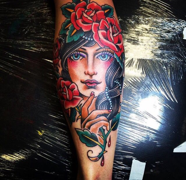 Gypsy Woman Tattoo Traditional Full Color