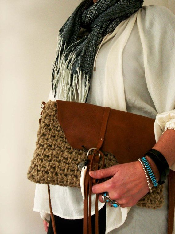 Boho native crochet Leather brown by Franellie on Etsy
