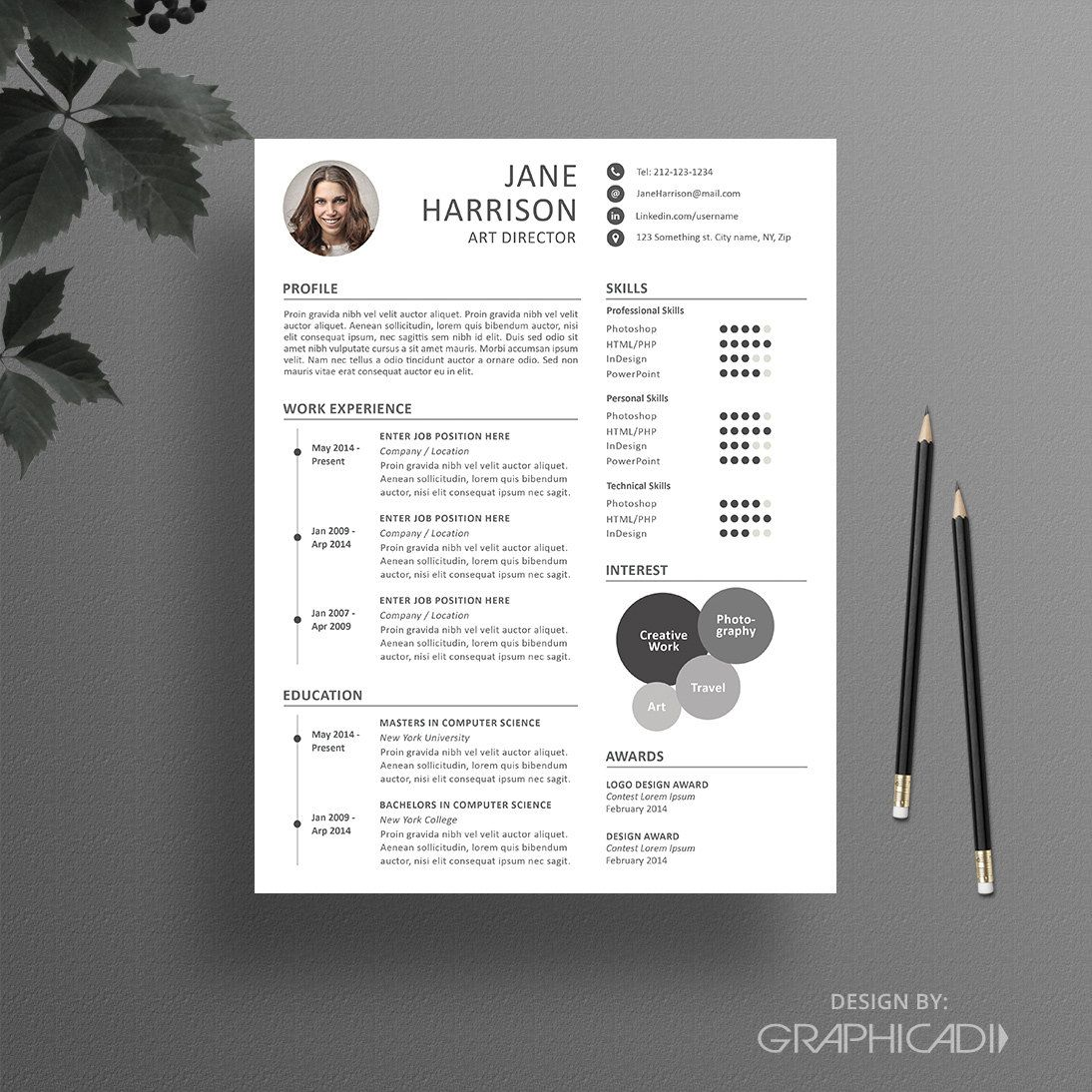 Resume Template + Free Cover Letter For MS Word U0026 IWork Pages