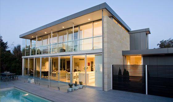 Glass Concrete Modern House Modern Glass House Glass House Design Glass House