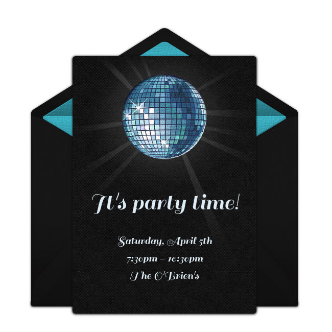 Customizable Free Disco Ball Online Invitations Easy To Personalize And Send For A Party Punchbowl