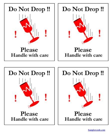Printable Shipping Labels - Do Not Drop - Handle With Care Drop - packing slips for shipping