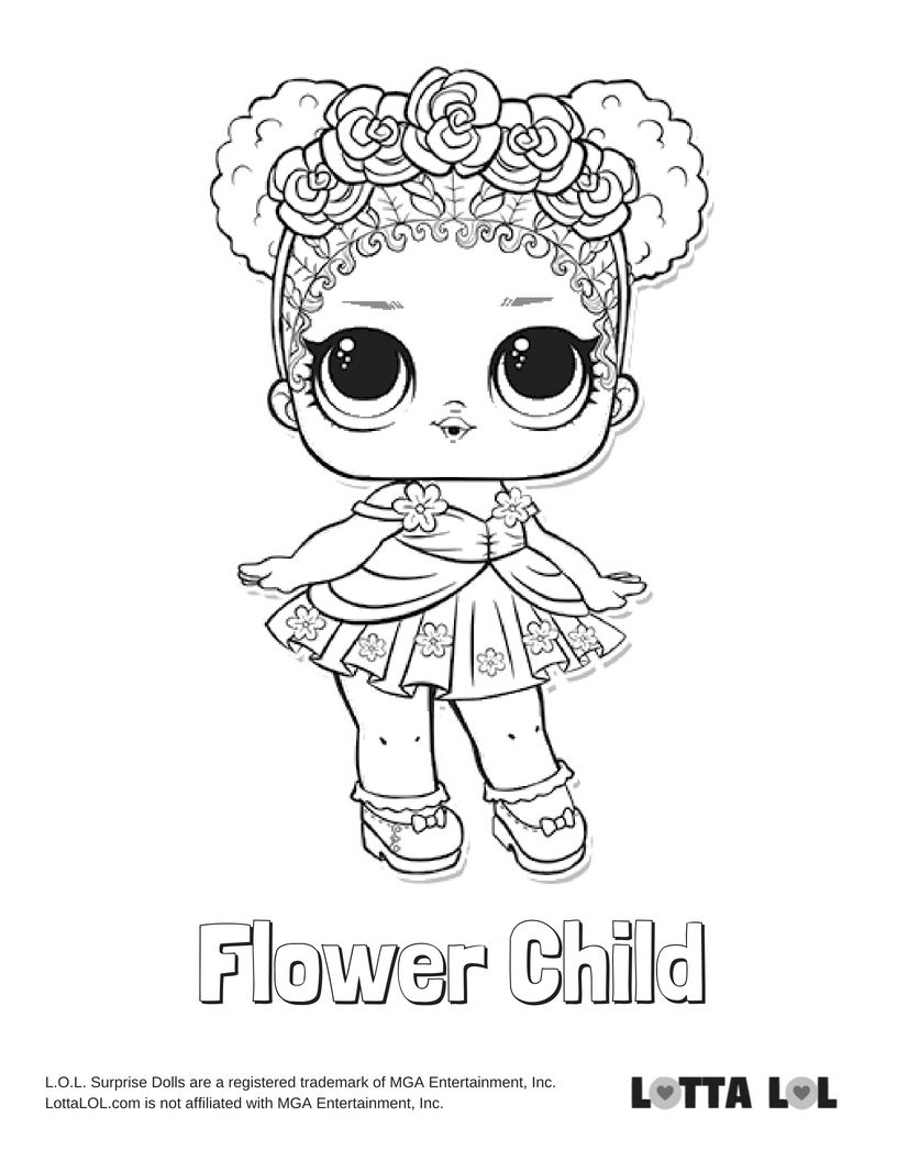 Flower Child Coloring Page Lotta