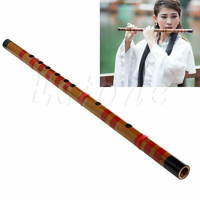 Traditional Long Bamboo Flute Clarinet Student Musical Instrument 7 Hole 42.5cm