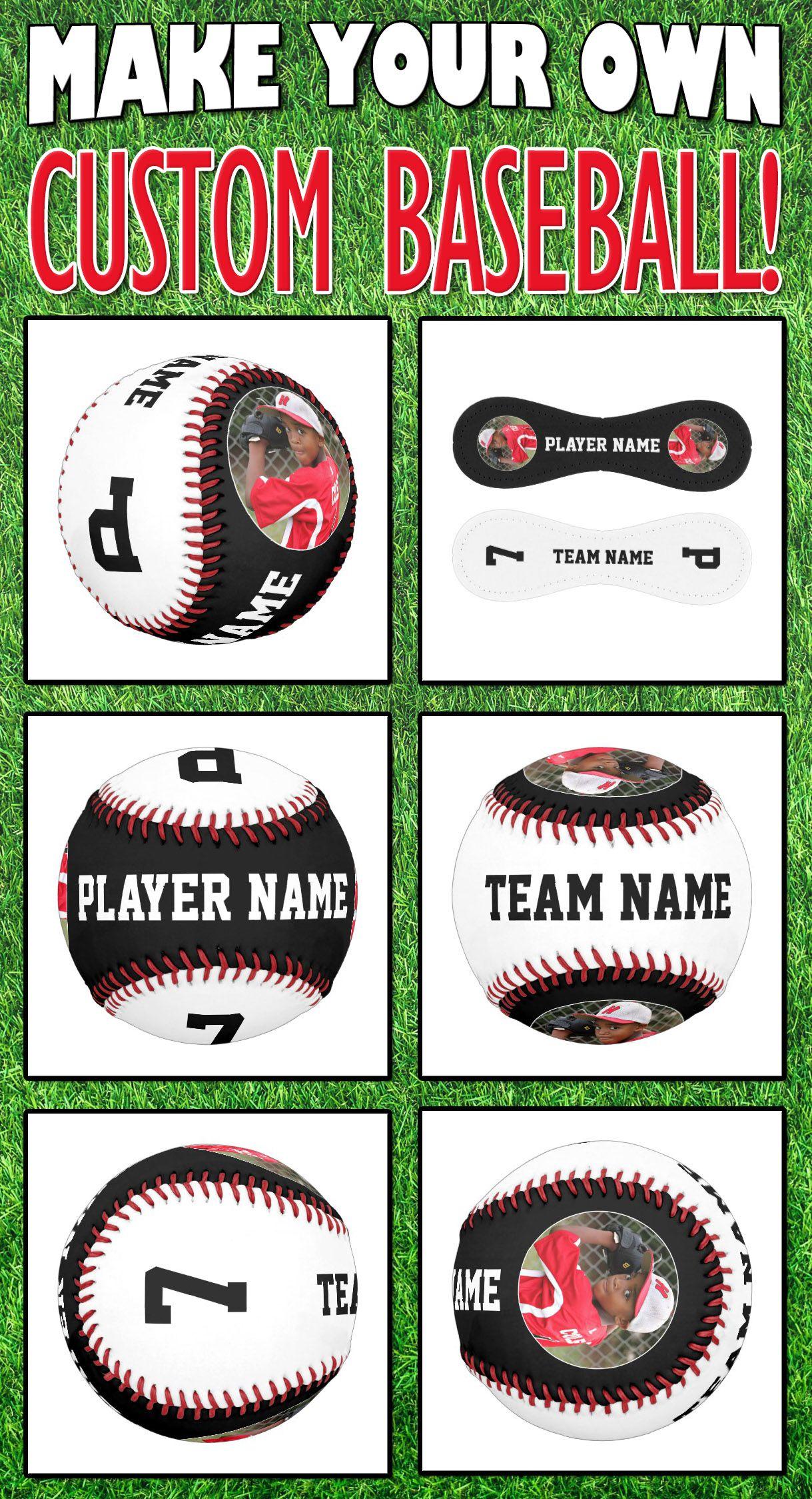 Custom Baseball Team Player Name Photo Number Zazzle Com Gifts For Baseball Players Baseball Team Gift Custom Baseballs