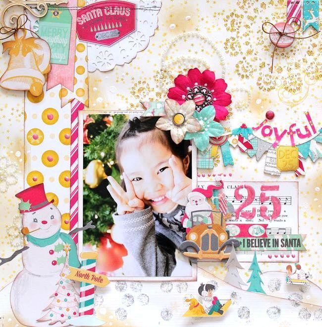 Joyful Mixed Media by Kaori Fujimoto featuring Candy Cane Lane. #BoBunny @kaorifujimoto9