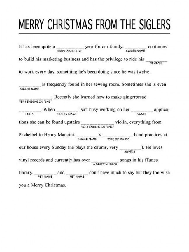 Holiday Mad Libs  Mommy Has A Potty Mouth Love This Idea For The