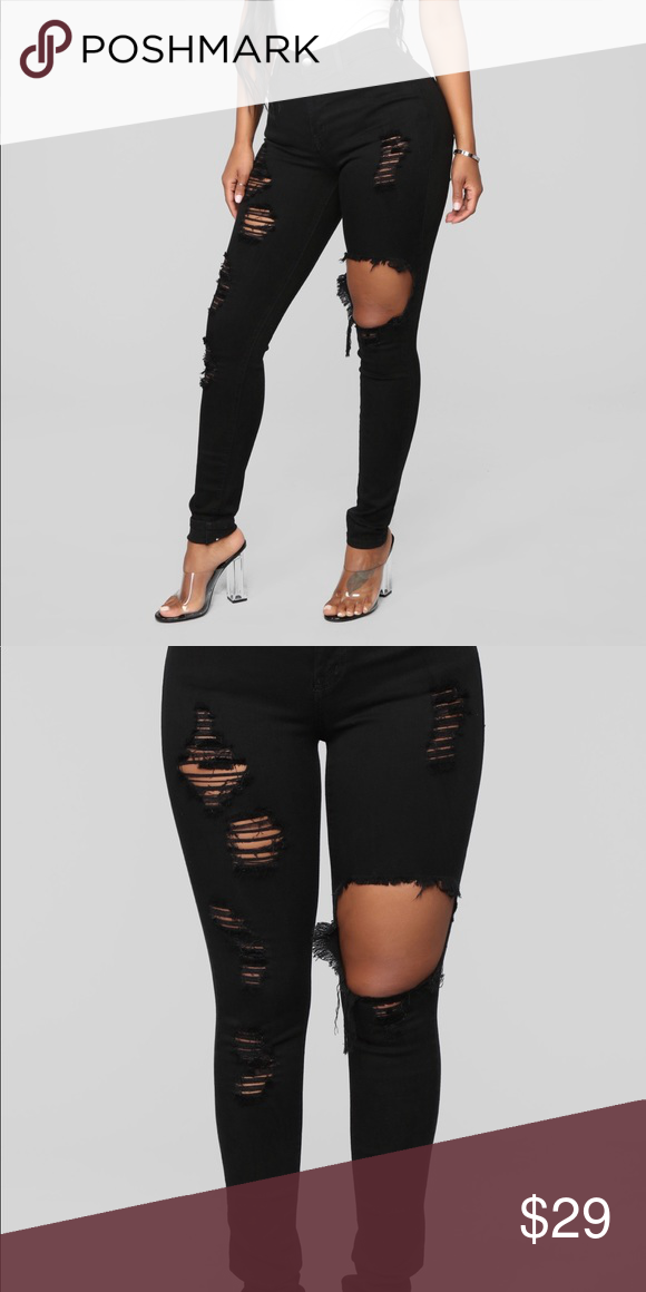 415b6431047 Fashion nova black ripped jeans Brand new with tags, distressed and ripped  style Fashion Nova Jeans Skinny