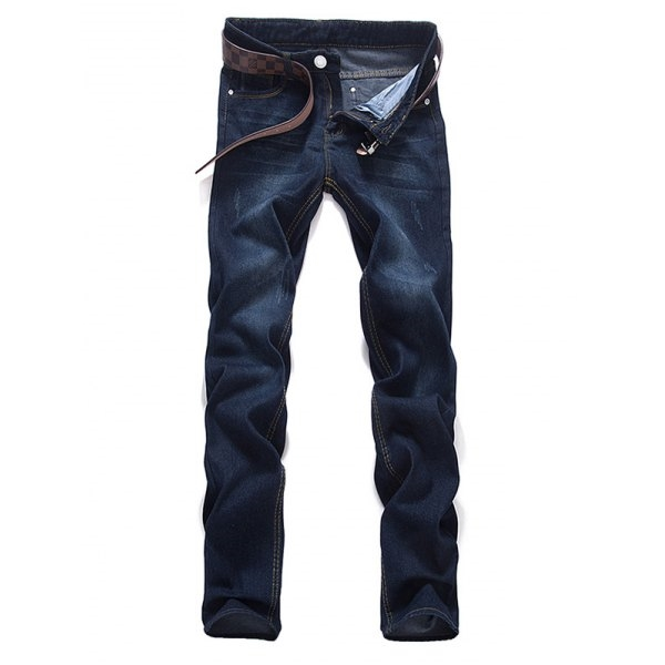22.38$  Buy now - http://di63e.justgood.pw/go.php?t=199224708 - Zipper Fly Dark Washed Mid Waist Jeans 22.38$
