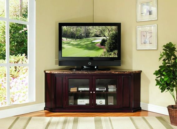 Acme 91055 Nevin Espresso Finish Wood Faux Marble Top Corner Tv
