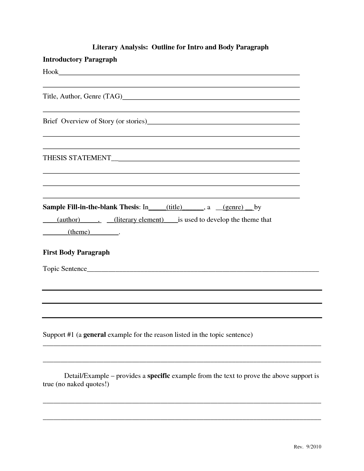 Thematic Statement Example Template