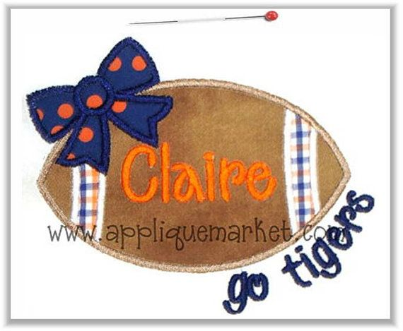 Football Bow Applique Shirt by ChickenTattoo on Etsy, $20.00 (maybe on a pocket?)