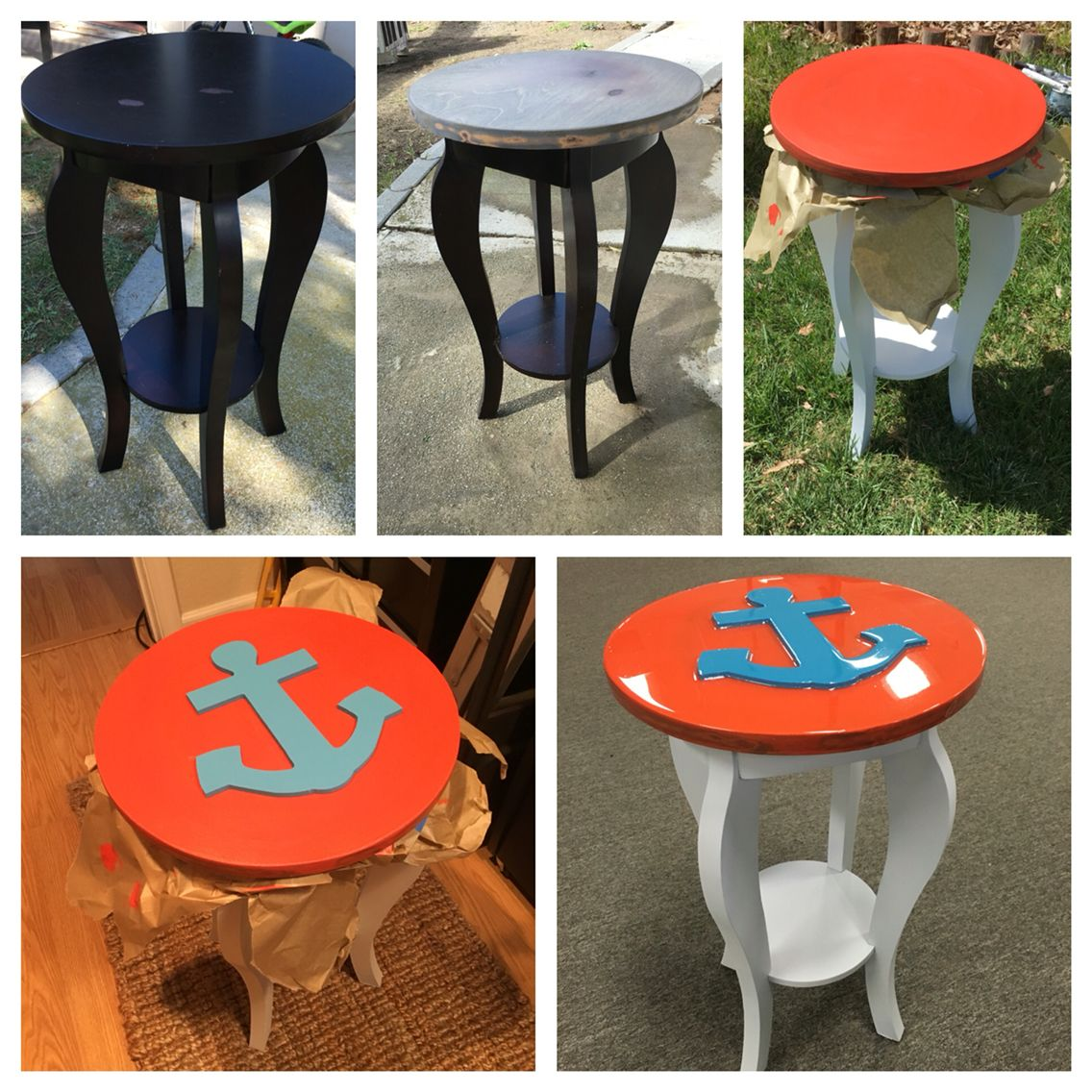 Espresso Side Table Turned Into An Anchor Table With Decoupage.