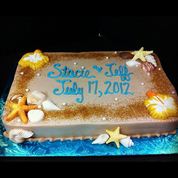 Edible Beach Themed Cake Decorations: Beach Themed Shower Sheet Cake, Edible Pearls And Sugar