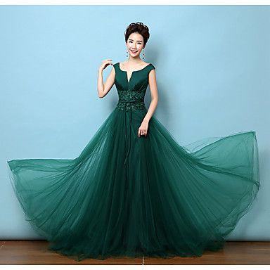 aline vneck court train lace satin formal evening dress with bows lace sash / ribbon