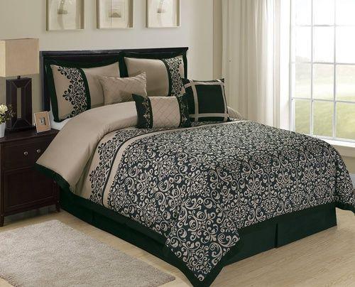 7 Piece Reign Scroll Floral Comforter Sets Queen Size Queen Color Black Taupe Comforter Sets Queen Comforter Sets Taupe Comforter