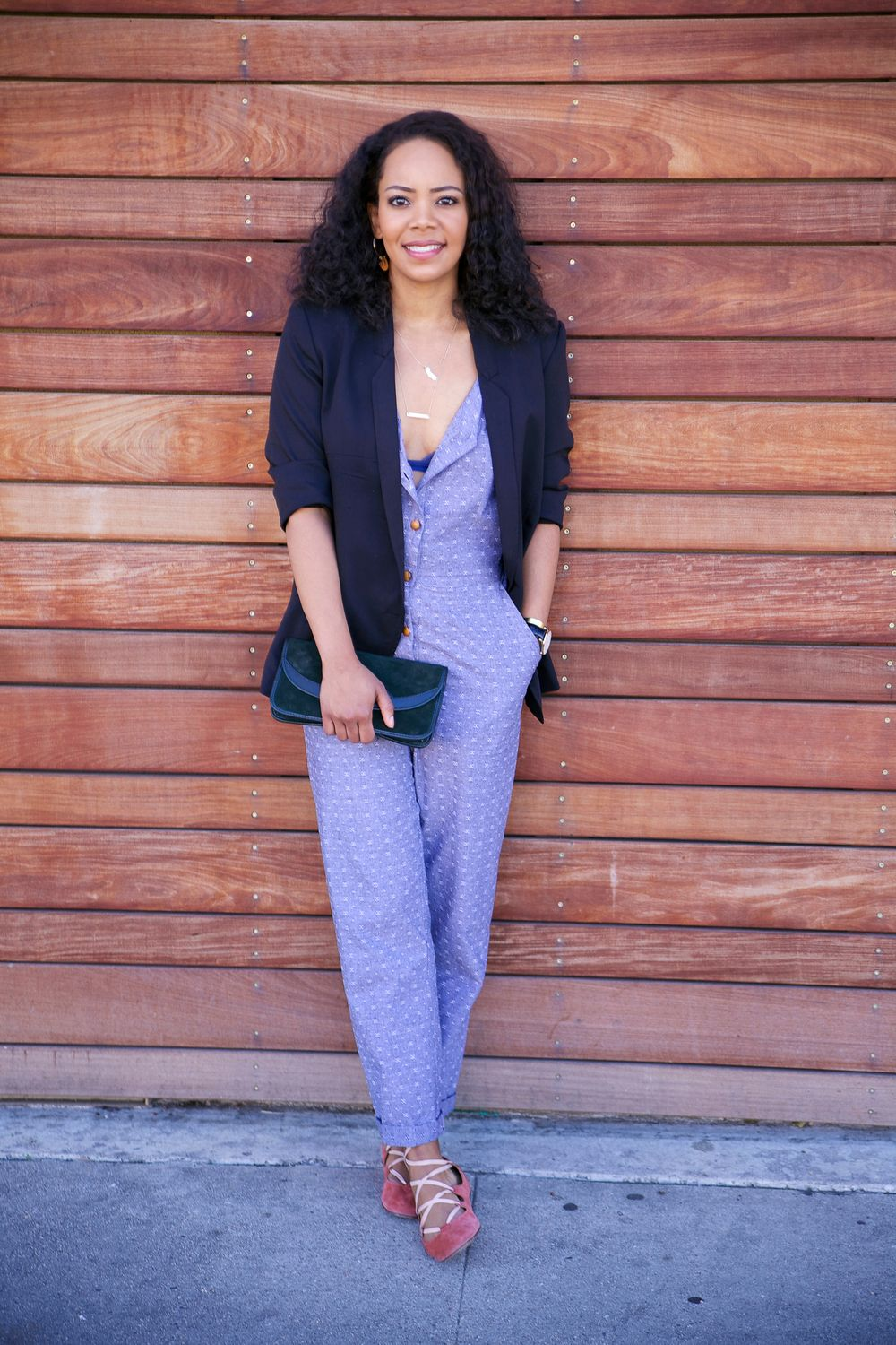 Fischer Clothing Jumpsuit dressed up with a blazer, clutch and ballet flats via Cute LA