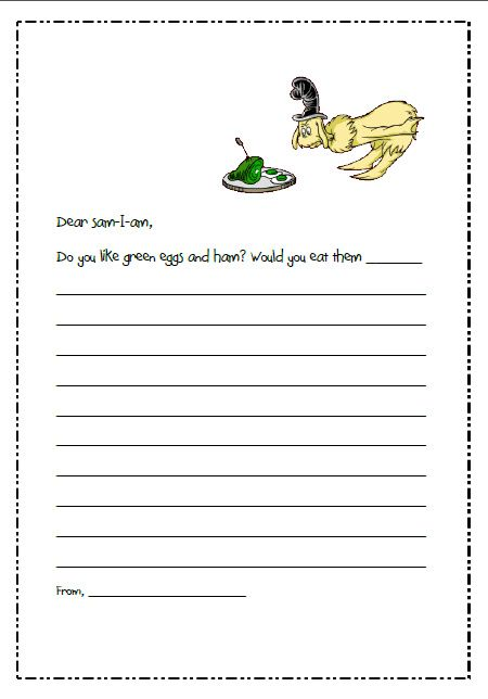 Dr. Seuss writing - Five different templates for different Dr. Seuss books, free!