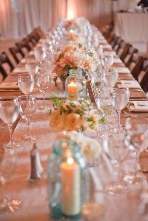 Aqua Flowers And Tablescapes Centerpiece IdeasMason Jar CenterpiecesWedding Reception