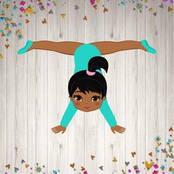 Gymnastic Centerpiece Kit Party Decoration African American Etsy Aniversario De Ginastica Boneca Negra Desenhos