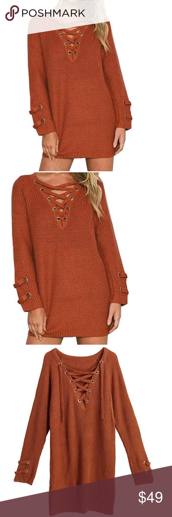 29778ebb0bfa women lace up knit sweater mini dress top Beautiful women lace up long  sleeve knit sweater top mini dress color brick red material 80% acrylic 20%  cotton ...