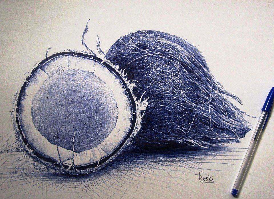 Desenho com caneta Bic - Enam Bosokah, artista ganense.