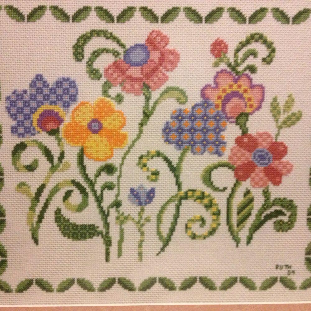 Ursula Michaels Love Cross Stitch Framed Jacobean Trendy Hippie Boho ...
