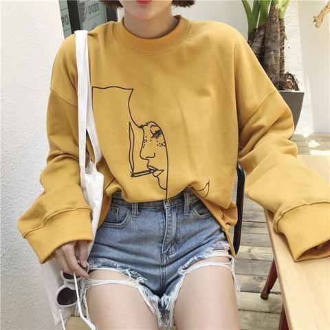 Smoking girl yellow sweatshirt harajuku 3