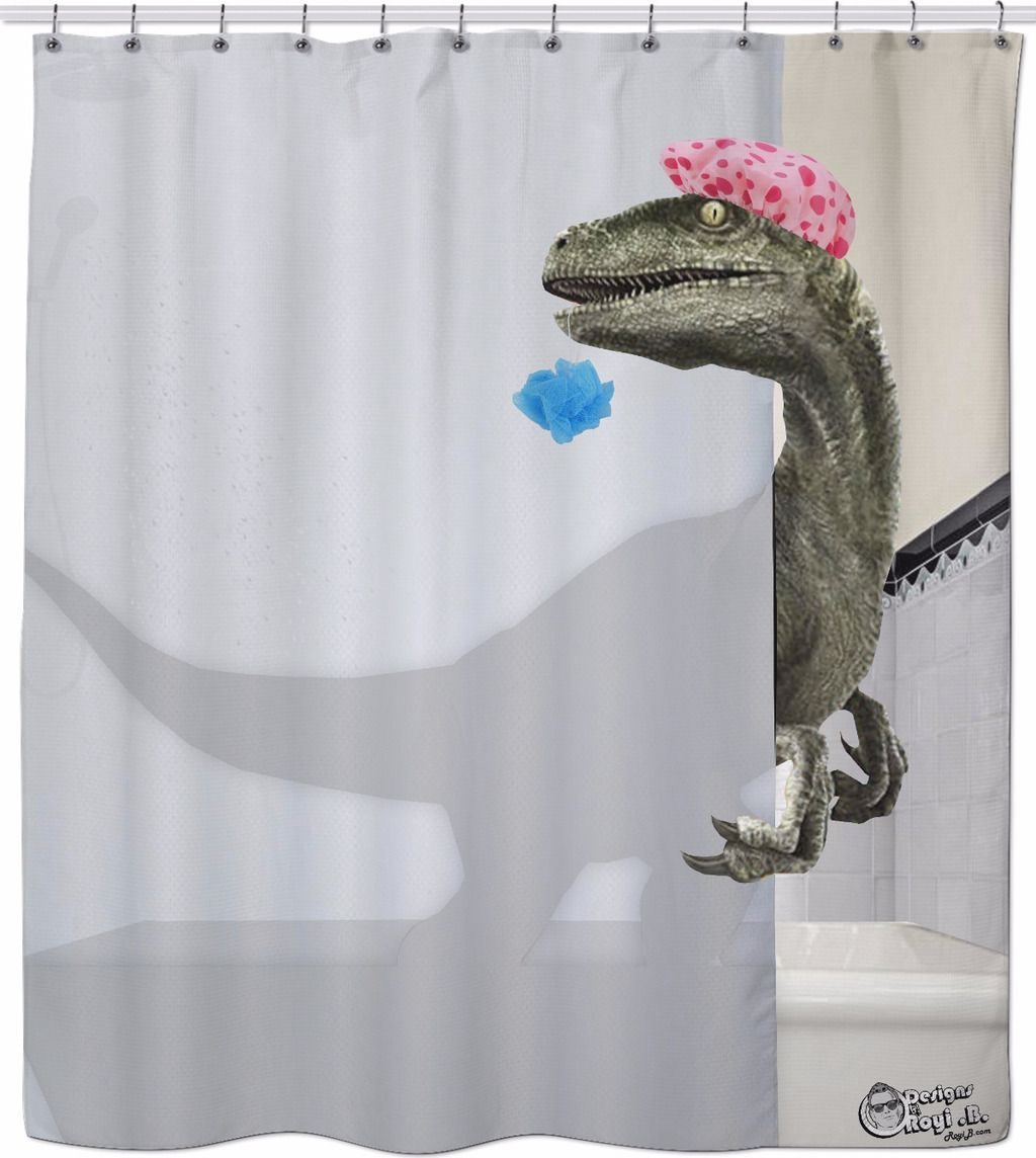 Velociraptor Shower Curtain Funny Shower Curtains Cool Shower