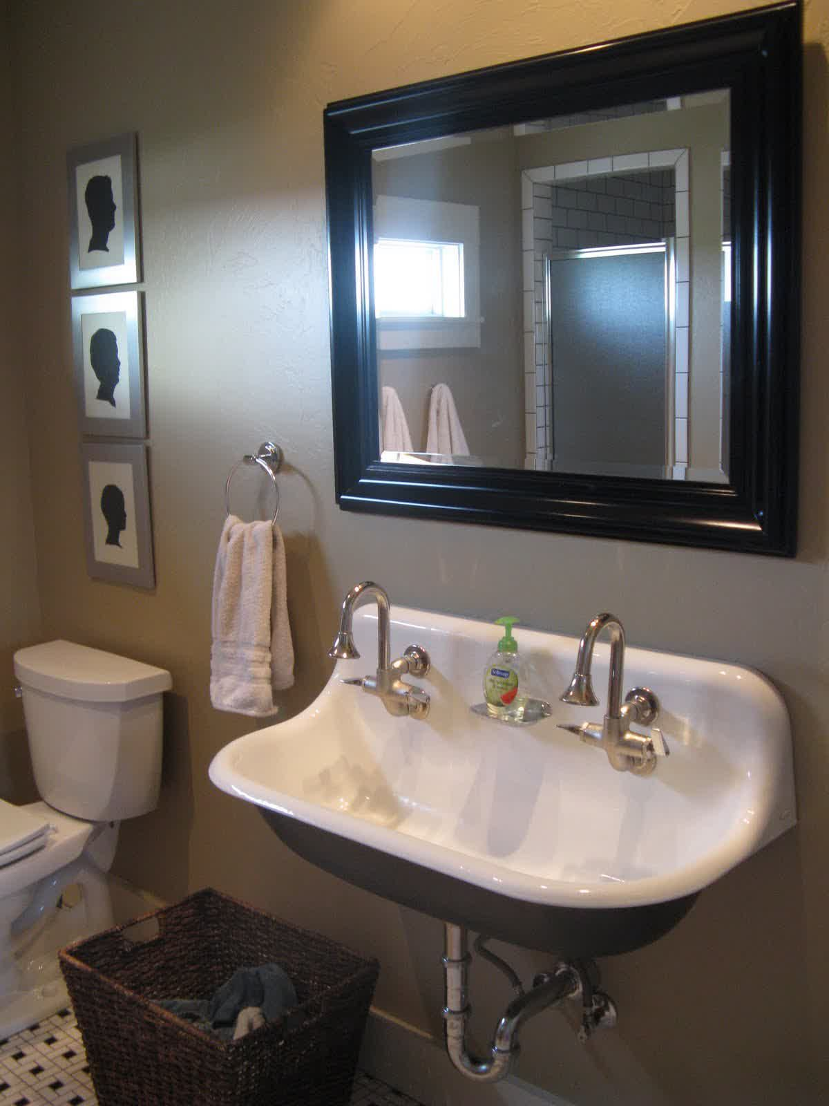 Kohler Trough Sink Idea In White With Two Units Of Water Faucet
