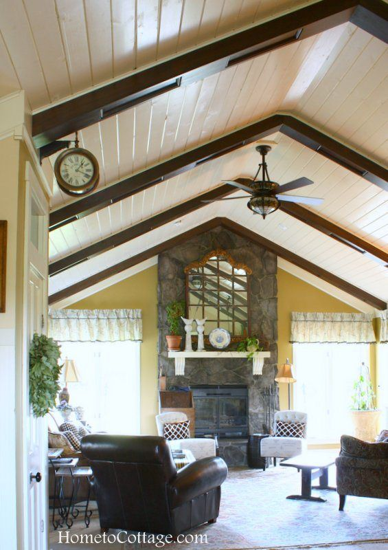 Ceiling Treatments The 5th Wall Hometocottage Wooden Beams Ceiling Cottage Interiors Farm House Living Room